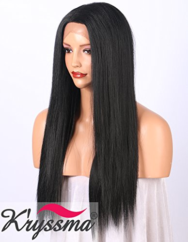 K'ryssma Yaki Lace Front Wig for Black Women Natural Looking L Deep Parting Yaki Straight Long Synthetic Wig Half Hand Tied Glueless Black Wigs for Women Heat Resistant 20inches (#1B) (Lace Front Yaki Perücken)