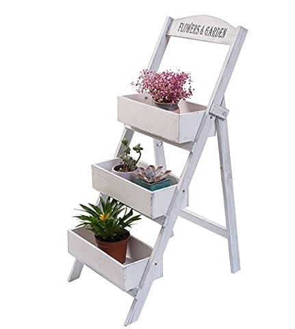 Étagère jardinière à 3 étages, escalier porte-plantes à 3 marches en bois naturel