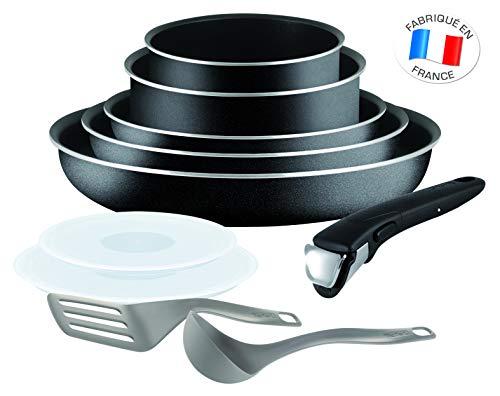 Tefal L2009802 Ingenio Essential Kochgeschirr-Set, 10-teilig (3 x Pfanne, 2 x Kasserolle, 2 x Deckel, abnehmbarer Griff, Bratwender, Schöpfer; PFOA-frei; antihaftbeschichtet) schwarz