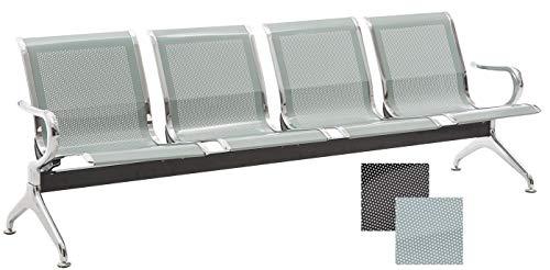 CLP Wartebank Airport mit Metallgestell in Chrom-Optik I Robuste Bank aus Metall I Sitzbank mit Armlehnen Silber, 4-Sitzer - 4 Armlehnen