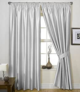 """Charisma Faux Silk Curtains, Lined Tape Top Curtains, Ready Made Pencil Pleat Pairs, Free Tie Backs (66"""" x 72"""", Silver)"""