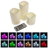 Smartfox 3er Set LED Kerzen flammenlos aus Kunststoff mit Timerfunktion und Farbwechsel inkl. FB - 2