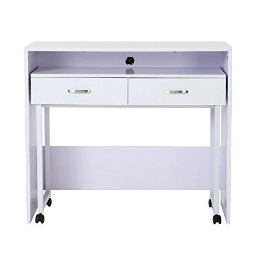 Homcom scrivania tavolo porta pc con due ripiani con ruote in legno mdf 100 x 36 x 88cm bianco