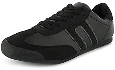 Mens Lace Up Samba Style Retro Trainers Ideal For School. - Black - UK SIZE 11