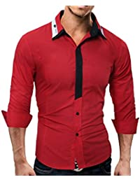 Camisa para Hombre,ZARLLE Casual Masculina De Color SóLido De Moda Sudaderas Camisas Hombre Slim