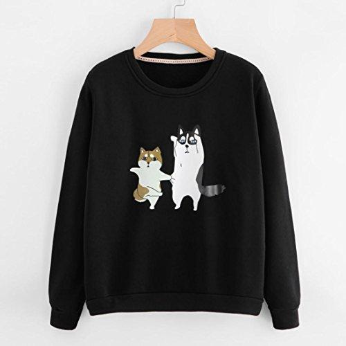 Morwind Sweat à Capuche Femme, chiots imprimées Mignon Manche Longue Pullover Crop Top Sweatshirt Noir