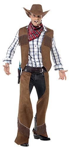 Smiffys Fransen-Cowboy Kostüm Braun mit Weste Beinschutz Halstuch und Hut, Medium (Cowboy Kostüm Männer Für)
