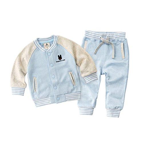 Vine Ragazzi Baseball Giacca e Pantaloni Bambini Varsity Jacket Inverno Felpa, Blu 3-4 Anni