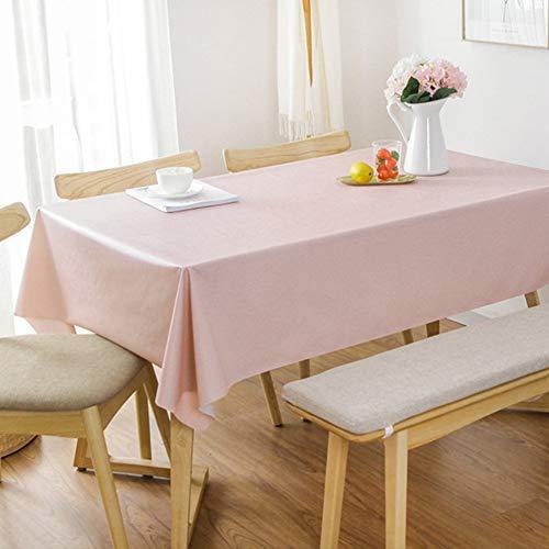 DYR Volltonfarbe Quadratische Tischdecke aus PVC, Tischdecke aus Kunststoff Wasserdicht Anti-hot Couchtisch Tischdecke Küchentischdecke für Dinnerpartys-pink 100x137cm (39x54 Zoll)