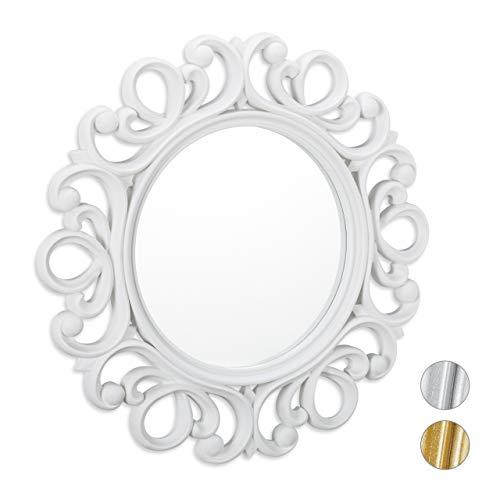 Relaxdays, Blanco Espejo Redondo de Pared, Decoración de Pasillo o salón, con Marco, ∅ 50 cm, PP...