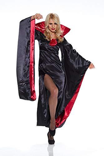 Damen-Kostüm Lady Dracula mit Fledermausärmeln Halloween Karneval Vampir, Größe:S/M