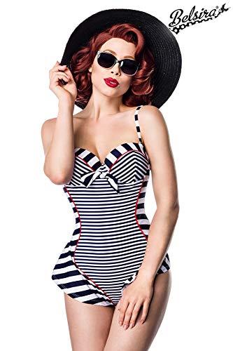 Sexy Vintage Badeanzug Retro Look Streifen Muster Blau Weiß Rot Rockabilly 50s, Farbe:Blau/Weiß/Rot;Größe:L