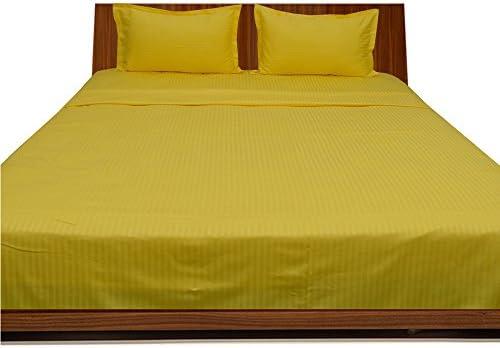 Dreamz Dreamz Dreamz Bedding Super Soft di 600 Thread Count Cotone Egiziano Bed Sheet Set 45,7 cm Extra Profonda Pocket UK Single, Giallo a Righe, 600TC 100% Cotone Set di Biancheria da Letto a2c2f3
