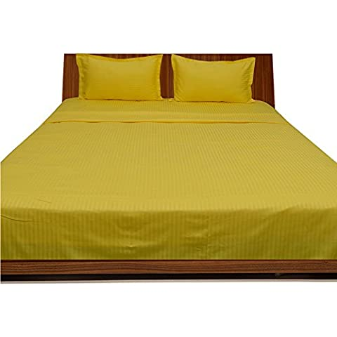 royallinens biancheria Georgeous 4pcs Waterbed Sheet a righe (Pocket Size: 24 pollici), Cotone, Yellow Stripe, EU_Single
