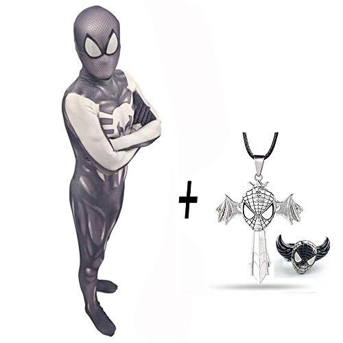 Punisher Spiderman Strumpfhose Cosplay Kostüm Siamese Onesies Adult Kinder Party Requisiten Halloween + Kreuz Halskette Und Spiderman Ring,Child-XL (Der Punisher Cosplay Kostüm)
