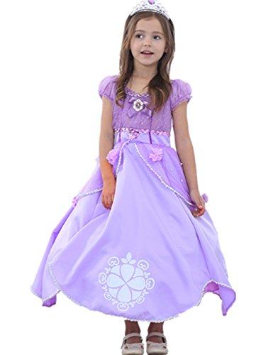 Ninimour Prinzessin Kleid Grimms Märchen Kostüm Cosplay Mädchen Halloween Kostüm Violett, Gr.150