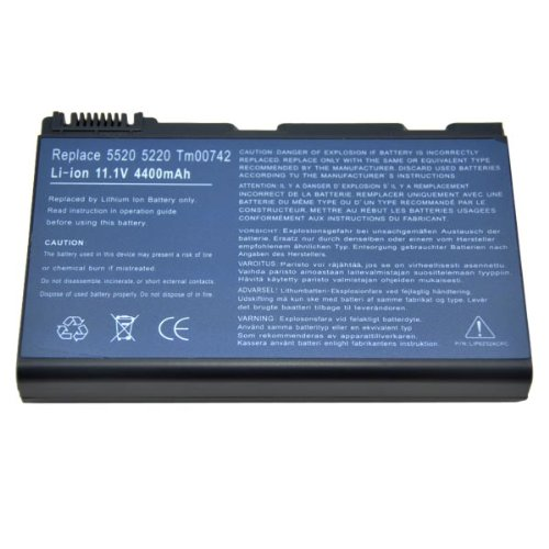 Batteria per PC portatili Acer Extensa 5220, 5620 5210 5620G 5620Z TravelMate 5520 5710 5720, 5230 5310 5320 5520G 5530 5530G 7320 7720 7520 7520G 7720G 7720G-703G50Bn, TM00741 TM00742 TM00772 LC.BTP00.006, CONIS71 CONIS72 TM00751 GRAPE32 GRAPE34 TM-2007; 4400mAh