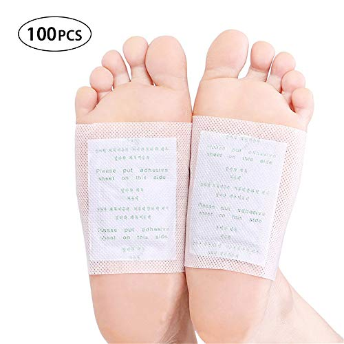 GFEU Detox Fuß-Pads, 100 Stück, natürliche, organische Toxin-Fußpads zur Entfernung von Unreinheiten, lindert Stress und verbessert den Schlaf, verbessert die Durchblutung - Toxin Entfernung