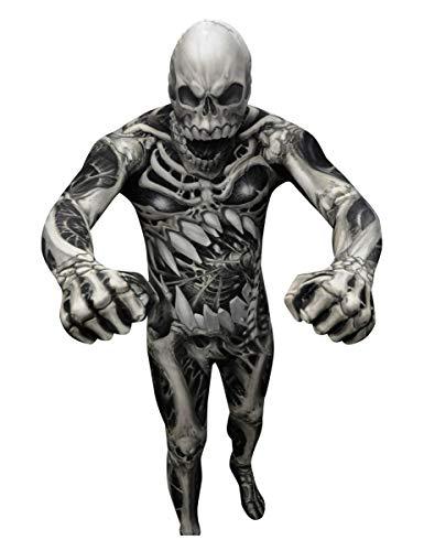 KULTFAKTOR GmbH Monster Skelett Morphsuit Halloween schwarz-grau M (bis zu 1,60 m)