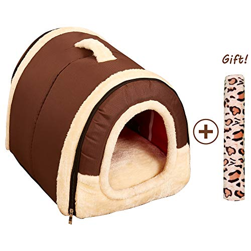 Cuccia/cucce gatto cane da interno 2 in 1, casetta animali taglia grande piccola lavabile, portatile e pieghevole, letto da viaggio per cani medio o piccoli o gatti (l:60cmx45cmx45cm, marrone)