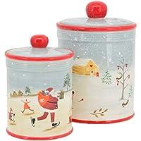 Exner Weihnachtsmann Keksdose aus Keramik rot wei/ß 12,5cm x 12,5cm x H 20,5cm
