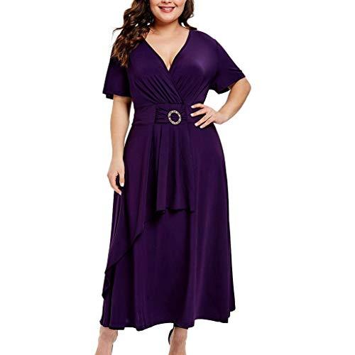 MAYOGO Kleid Sommer Damen Lang Kurzarm Maxikleid V-Ausschnitt Elegant Schick Ruffle Wickelkleid Büro Kleid Empire Kleid mit Gürtel
