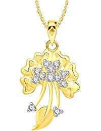 VK Jewels Delight Leaf Gold And Rhodium Plated Alloy CZ American Diamond Pendant With Chain For Women [VKP2583G]