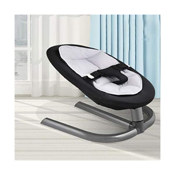 Disassembly And Washing Rocking Chair Aluminum Lazy Sleeping Lay Basket Appease Swing 2 Color 60cm*40cm MUMUJIN (Color : Black) Baby rocking chair ●Swing no noise, sleep, worry, no battery, no radiation, no pollution, 0-5 years old, the baby is available.Inertia Swing: The proper swing amplitude makes the baby's peace of mind smooth.Fit back curve: 27 degree tilt angle is more comfortable to care for your baby's spine. ●Cushion: It adopts the high-softness of the fiber bond and the high-soft suede.Four seasons universal: winter warm summer cool double grid design painful and comfortable.Protective belt: Three points can be adjusted to prevent falling off. ●Base: Aluminium alloy material with large area streamlined arc anti-dump design and stable support.Suspension shaft: Friction is small and precise.Easy to assemble and disassemble: One-piece M-shaped aluminum alloy bracket and base are inserted into the base connecting hole, which can be removed once. 3