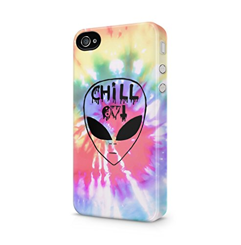 Chill Alien Space Tye Dye Trippy Tumblr Kompatibel mit iPhone 4 / iPhone 4S SnapOn Hard Plastic Phone Protective Fall Handyhülle Case Cover