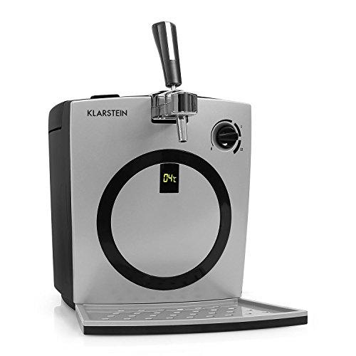 Klarstein Hopfenthal dispensador de cerveza (con refrigeración activa silenciosa, 5 litros, sistema de bombeo, pantalla LED, indicador temperatura, grifo integrado) -