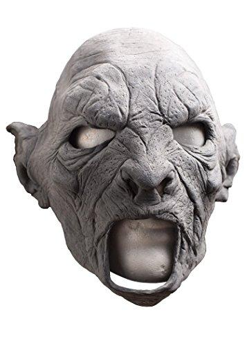 (Schaurige Maske Brutaler Ork, unbemalt zum Selbstgestalten Fratze Herrenmaske Halloween LARP Cosplay Orkgesicht aus Latex Faschingskostüm)