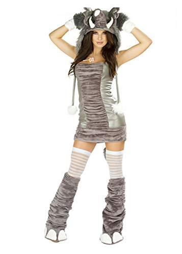 GJ Fashion Frauen Grauer Wolf Cosplay Kleid Bühne Kostüm Party Cosplay Make-up Abend Party Game Kostüm