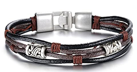 SaySure - Silver Bronze Color Charm 4 Strands Braided Punk Genuine