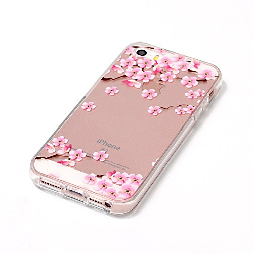TPU Crystal Case Hülle Silikon Schutzhülle Handyhülle Painted pc case cover hülle Handy-Fall-Haut Shell Abdeckungen für Smartphone Apple iPhone 5 5S SE +Staubstecker (10GJ) 1