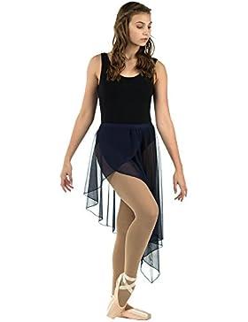 Danzcue Falda de Gasa con Abertura asimétrica en el Frente del Pétalo asimétrico para Mujer M-L-Adulto Armada