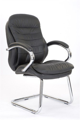 Bargain Eliza Tinsley 618AV/LBK Chrome Cantilever Framed Luxurious Leather Visitors Armchair – Black