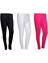IndiWeaves Women Solid Chudidar Cotton Lycra Leggings (Pack Of-3)_71025-3930-P3-Black::White::Pink _Free Size