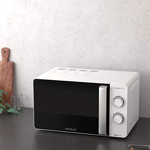 Cecotec Proclean 3010 Microondas blanco con revestimiento Ready2Clean para una mejor limpieza. Tecnología 3DWave, input 1150 W, output 700 W. 20 l. Diseño elegante con puerta FullCrystal. 6 niveles