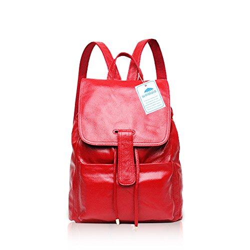 Yoome Vintage Leder Rucksack vielseitige Frauen große Kapazität Geldbörse Travele Tasche rot