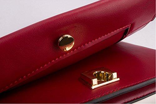 Frauen Echtes Leder Kampf Farbe Postman Paket Einzelne Schulter-Umhängetasche Tasche Red