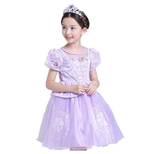 nzel Kostüm Kinder Glanz Kleid Mädchen Weihnachten Verkleidung Karneval Party Tangled Halloween Fest Lila (120, Lila 1) (Besten Film Charaktere Kostüme)