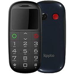 Kppto téléphone portable, téléphone portable pour les âgés, bouton SOS, écran de 1,77 pouces (haut-parleur de grand volume, appareil photographique, lampe de poche, ) Couleur Bleu