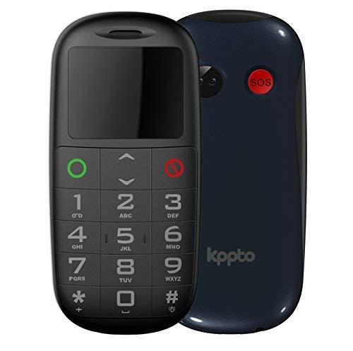 Kppto Panda P1 - Teléfono Móvil para Mayores- SOS Butón, Números y Letras Grandes, Fácil de Usar Celular para Ancianos- Celular Móvil libre (Pantalla de 1.8',Dual Sim) -Color Azul