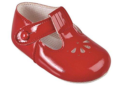 Early Days Baypods Chaussures pour bébé Sangle en T Motif ajouré Fabriquées en Angleterre Couleurs et tailles au choix Rouge - Rouge/motifs