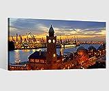 Leinwandbild Leinwand Skyline Hamburg Hafen Stadt Bild Bilder Wandbild Holz Leinwandbilder Kunstdruck vom Hersteller 9AB648, Leinwand Größe 1:40x20cm