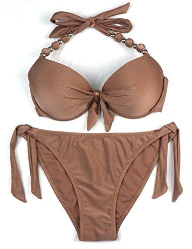 EONAR Damen Seitlich Gebunden Bikini-sets Abnehmbar Bademode Push-up-Bikinioberteil mit Nackenträger(L,Clove)
