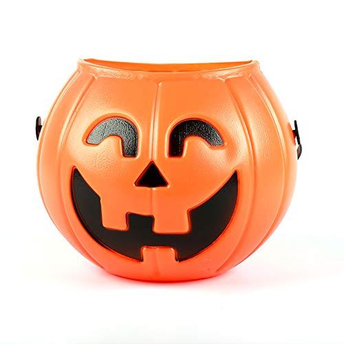 Beito Halloween-Kürbis-Süßigkeits-Eimer-tragbarer Kürbis-Eimer für Kinder Süßes sonst gibt's Saures Taschen für Partei-Bevorzugungen (orange) 1PCS
