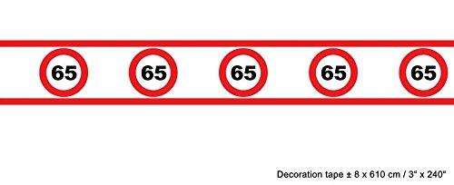 Kostüm Verkehr - Absperrband Verkehrs Schild 65 Geburtstag 8cm hoch 610 cm lang rot weiß