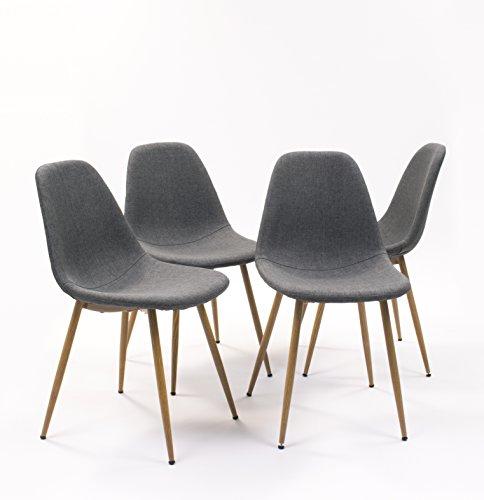 Pack de 4 sillas de comedor CAIRO tapizada en tela ,con patas de metal símil madera