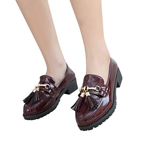 Slipper Damen Mode Freizeitschuhe Frauen Retro Segelschuhe Quaste Wohnungen Flache Schuhe Runde Zehe Mund Lederschuh Low-Heeled Arbeitsschuhe